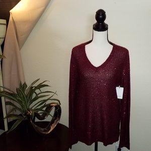 Jones New York maroon sweater w/sequins